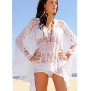 Jen's Pirate Booty | Long Fringe Kaftan in White